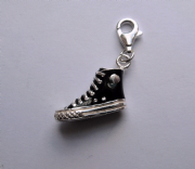 Sterling Silver Clip-on Enamelled Black Boot charm